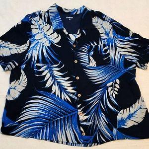 KS Island Hawaiian button down shirt blue rayon 3X